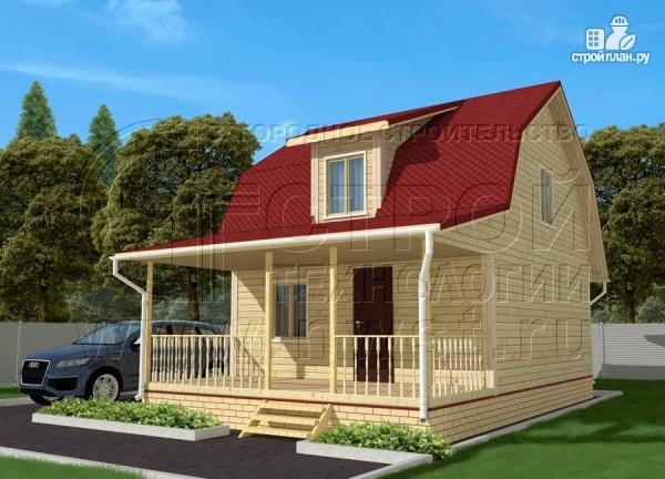 Фото: проект дачный дом 6х7 м из бруса с мансардой и террасой 15 м2