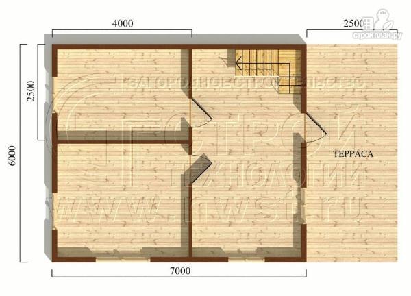 Фото 5: проект дачный дом 6х7 м из бруса с мансардой и террасой 15 м2