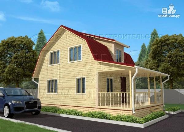 Фото 2: проект дачный дом 6х7 м из бруса с мансардой и террасой 15 м2