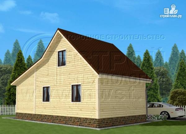 Фото 2: проект дачный дом 6х7 м с мансардой и верандой 18 м2