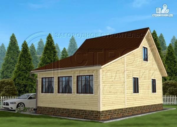 Фото 3: проект дачный дом 6х7 м с мансардой и верандой 18 м2