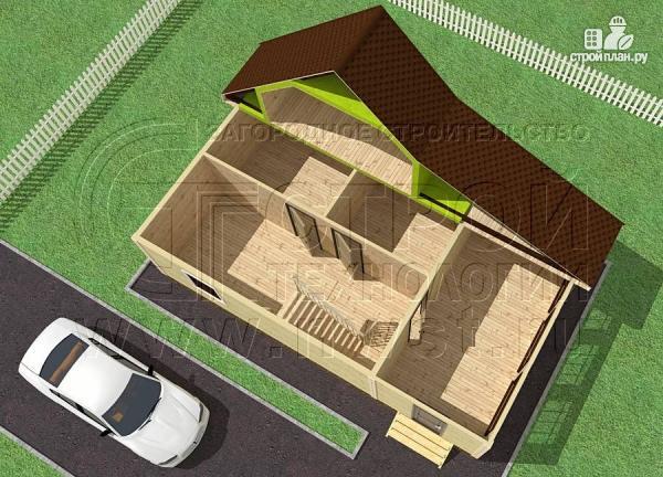 Фото 4: проект дачный дом 6х7 м с мансардой и верандой 18 м2
