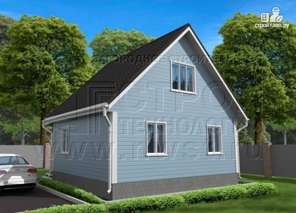 Фото 2: проект дачный дом 6х7 из бруса с верандой