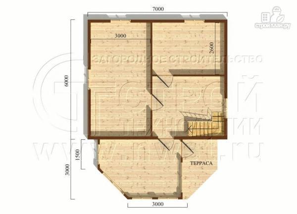Фото 5: проект дачный дом 6х7 из бруса с верандой