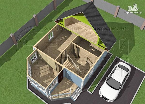 Фото 4: проект дачный дом 6х7 из бруса с верандой
