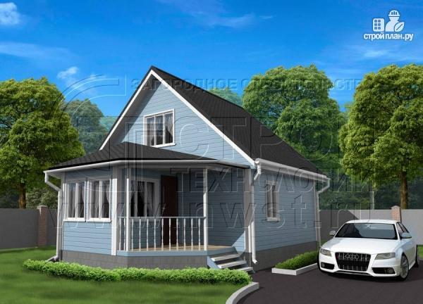 Фото: проект дачный дом 6х7 из бруса с верандой
