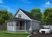 Фото: дачный дом 6х7 из бруса с верандой