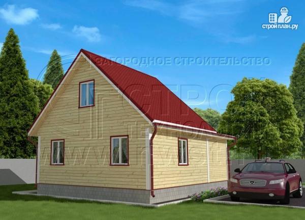 Фото 3: проект дачный дом 6х7 м из бруса с большой верандой