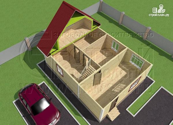 Фото 4: проект дачный дом 6х7 м из бруса с большой верандой