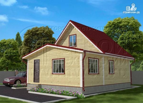 Фото: проект дачный дом 6х7 м из бруса с большой верандой