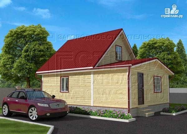 Фото 2: проект дачный дом 6х7 м из бруса с большой верандой