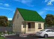 Фото: дачный дом 6х7 м из бруса смансардой