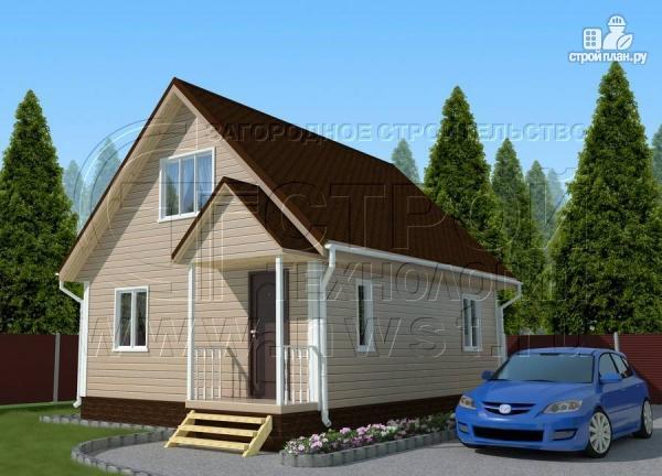 Фото: проект дачный дом 6х8 м с крыльцом