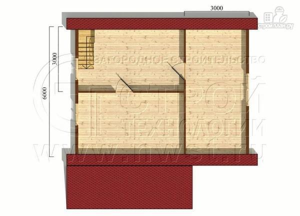 Фото 6: проект дачный брусовой дом 6х8 м с мансардой и террасой