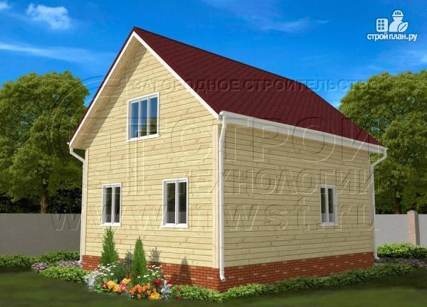 Фото 3: проект дачный брусовой дом 6х8 м с мансардой и террасой