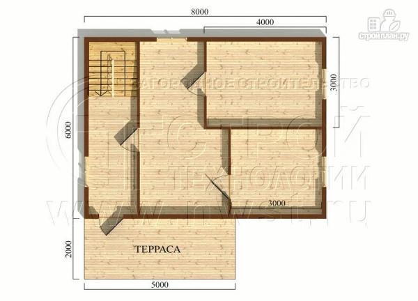 Фото 5: проект дачный брусовой дом 6х8 м с мансардой и террасой
