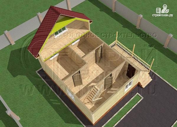 Фото 4: проект дачный брусовой дом 6х8 м с мансардой и террасой