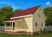 Проект дачный брусовой дом 6х8 м с мансардой и террасой