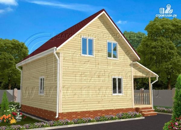 Фото 2: проект дачный брусовой дом 6х8 м с мансардой и террасой
