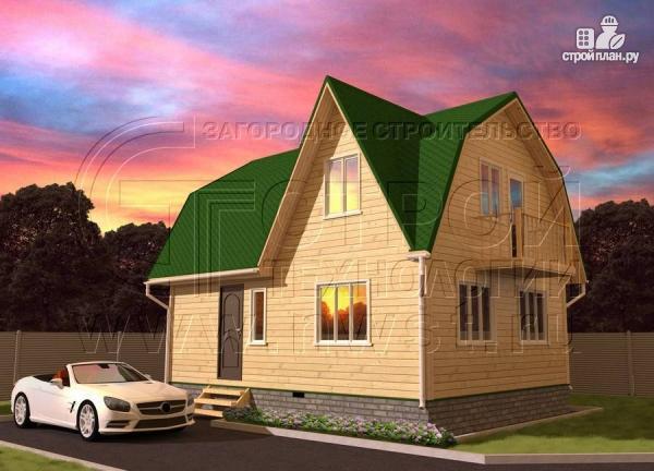 Фото: проект дачный дом 6х8 м из бруса с балконом