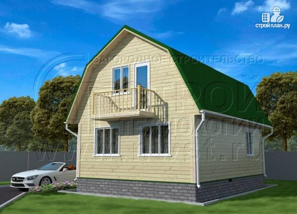 Фото 3: проект дачный дом 6х8 м из бруса с балконом
