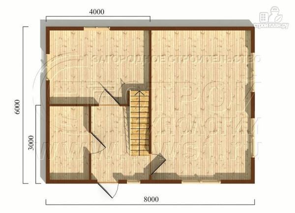 Фото 5: проект дачный дом 6х8 м из бруса с балконом