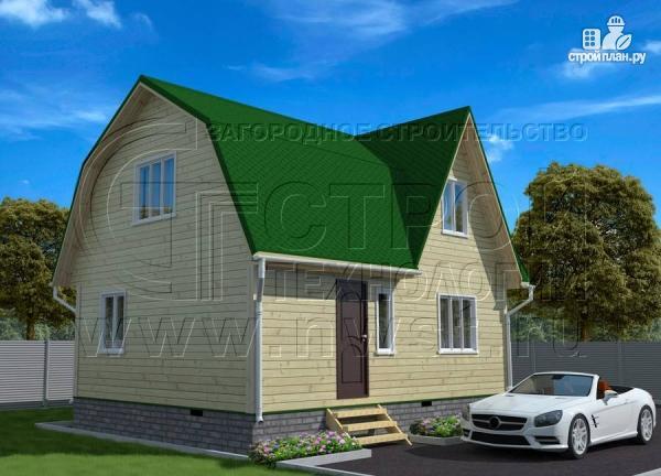 Фото 2: проект дачный дом 6х8 м из бруса с балконом