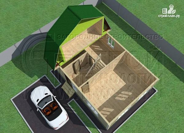 Фото 4: проект дачный дом 6х8 м из бруса с балконом