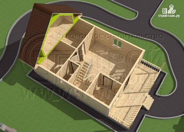 Фото 4: проект дачный дом 6х8 м с террасой и лоджией