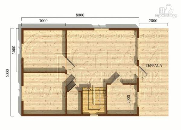 Фото 5: проект дачный дом 6х8 м с террасой и лоджией