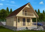 Фото: дачный дом 6х8 м с террасой и лоджией