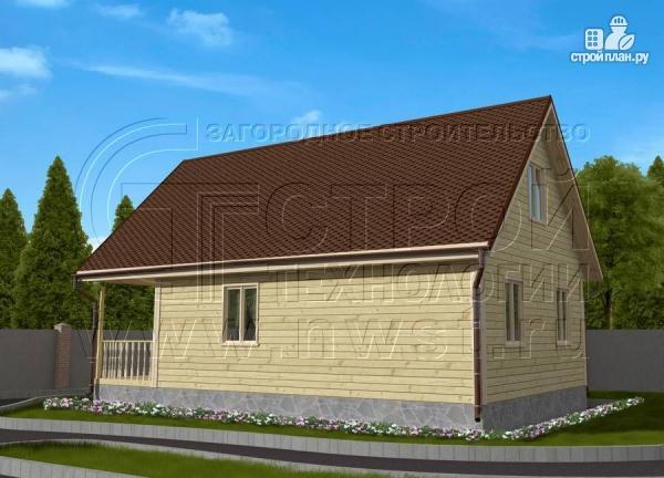 Фото 3: проект дачный дом 6х8 м с террасой и лоджией