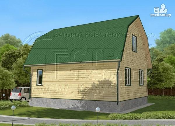 Фото 2: проект дачный дом 6х8 м из бруса с мансардой