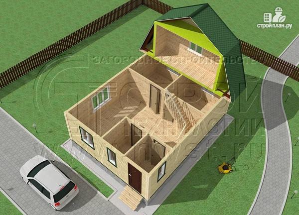 Фото 4: проект дачный дом 6х8 м из бруса с мансардой
