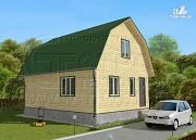 Проект дачный дом 6х8 м из бруса с мансардой