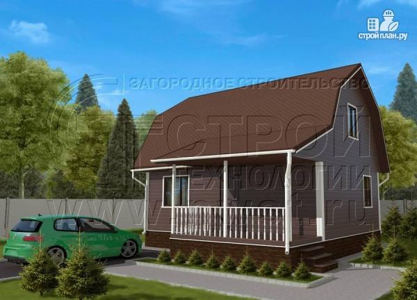 Фото: проект дачный дом 6х8 м из бруса с террасой9 м2