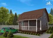 Фото: дачный дом 6х8 м из бруса с террасой9 м2