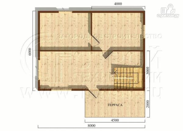 Фото 5: проект дачный дом 6х8 м из бруса с террасой9 м2