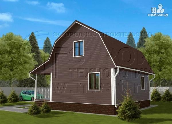 Фото 2: проект дачный дом 6х8 м из бруса с террасой9 м2