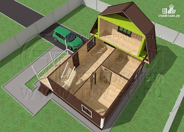 Фото 4: проект дачный дом 6х8 м из бруса с террасой9 м2