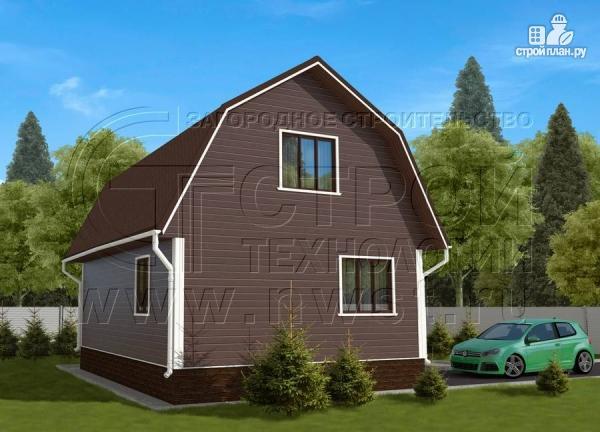 Фото 3: проект дачный дом 6х8 м из бруса с террасой9 м2