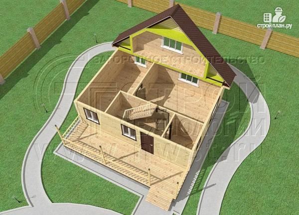 Фото 4: проект дачный дом 6х8 м с мансардой и широкой террасой