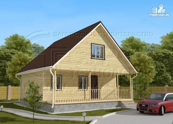Фото: проект дачный дом 6х8 м с мансардой и широкой террасой