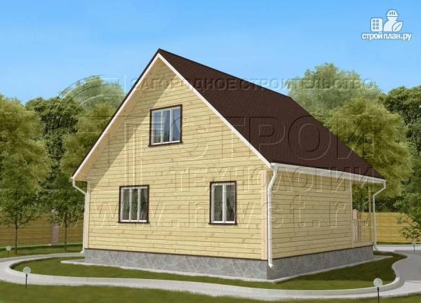 Фото 3: проект дачный дом 6х8 м с мансардой и широкой террасой