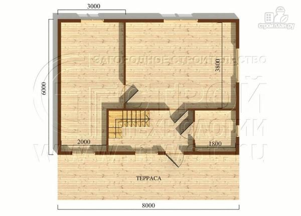 Фото 5: проект дачный дом 6х8 м с мансардой и широкой террасой