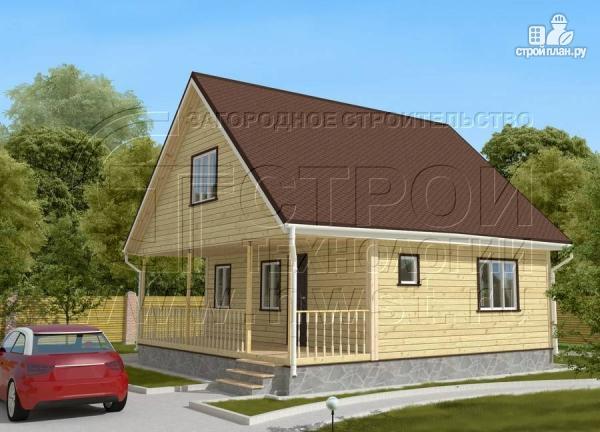 Фото 2: проект дачный дом 6х8 м с мансардой и широкой террасой