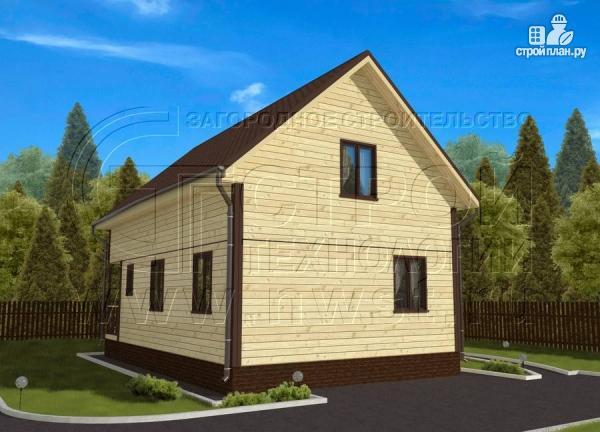 Фото 3: проект дом 6х8 м из бруса с террасой