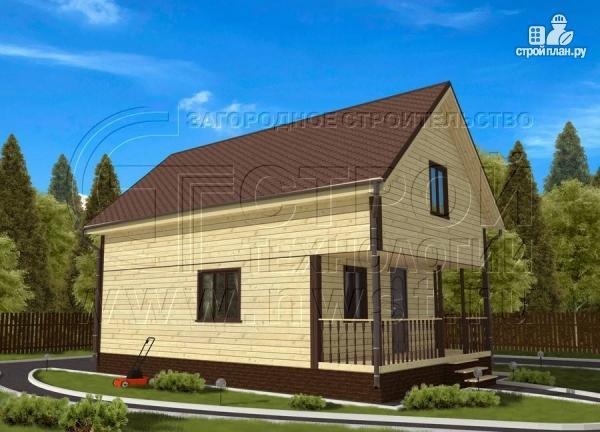Фото 2: проект дом 6х8 м из бруса с террасой