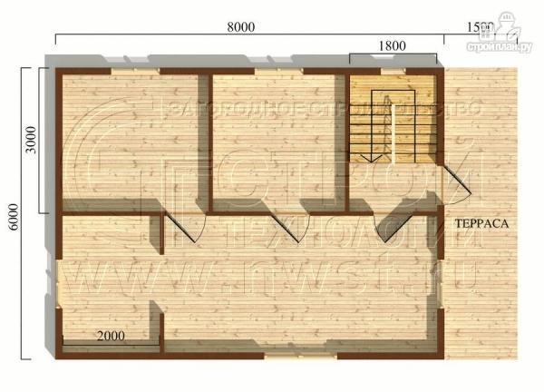 Фото 5: проект дом 6х8 м из бруса с террасой