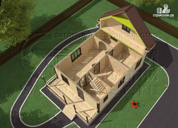 Фото 4: проект дом 6х8 м из бруса с террасой